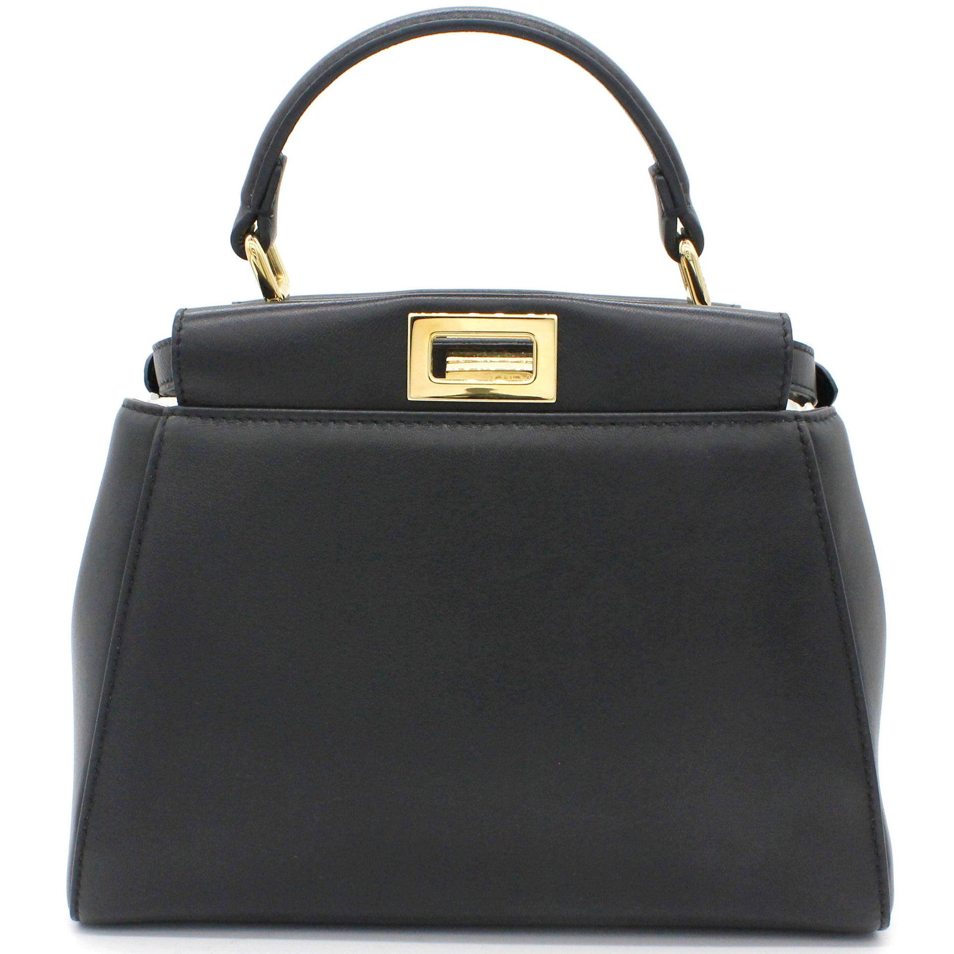 Black Leather Mini Peekaboo Top Handle Bag