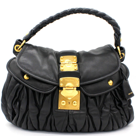 Black Coffer Matelasse Leather Hobo