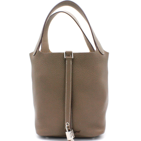 Togo Leather Picotin Lock MM Bag 22 Etoupe
