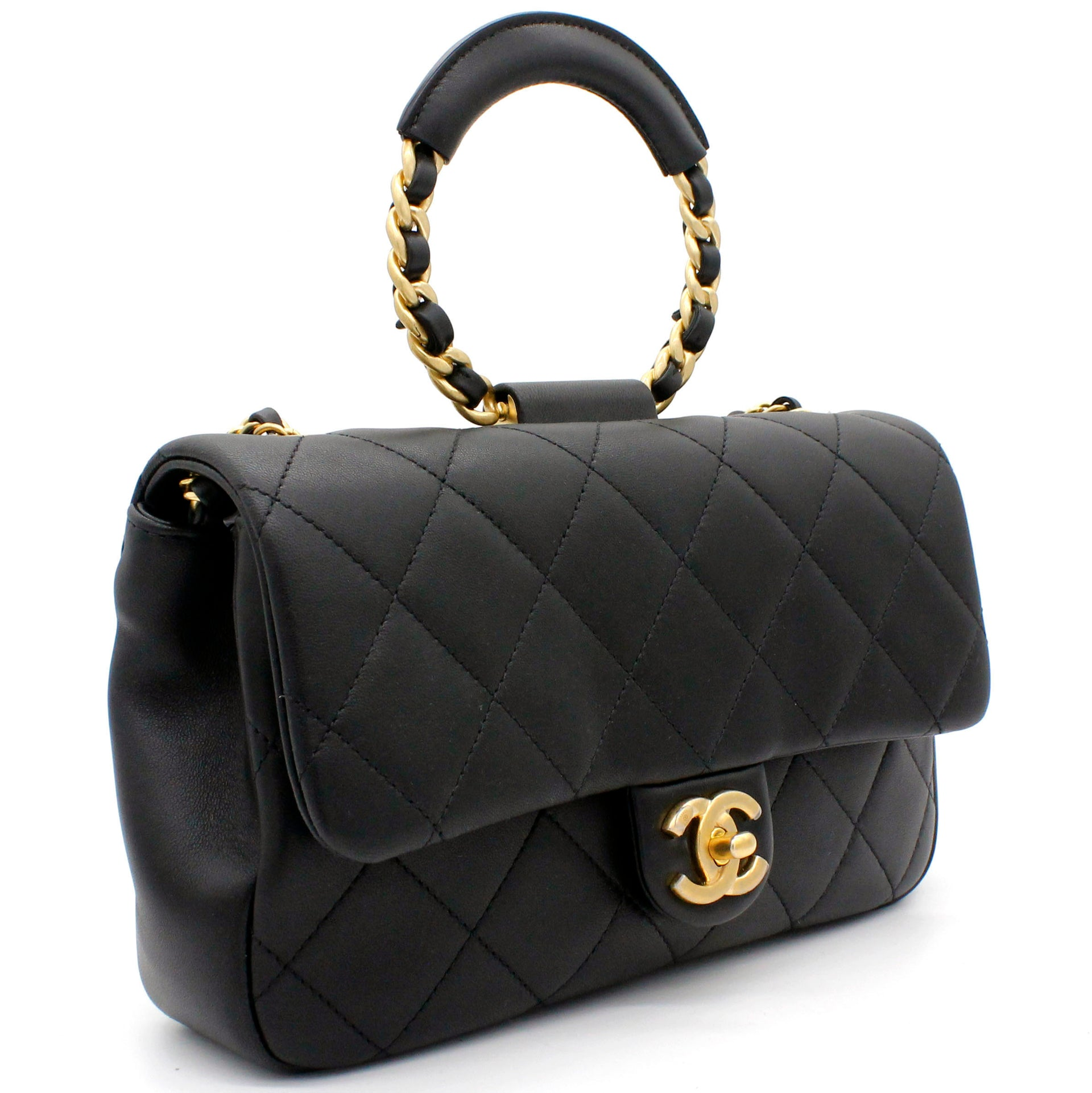 Lambskin Quilted Small Circular Handle Bag Black