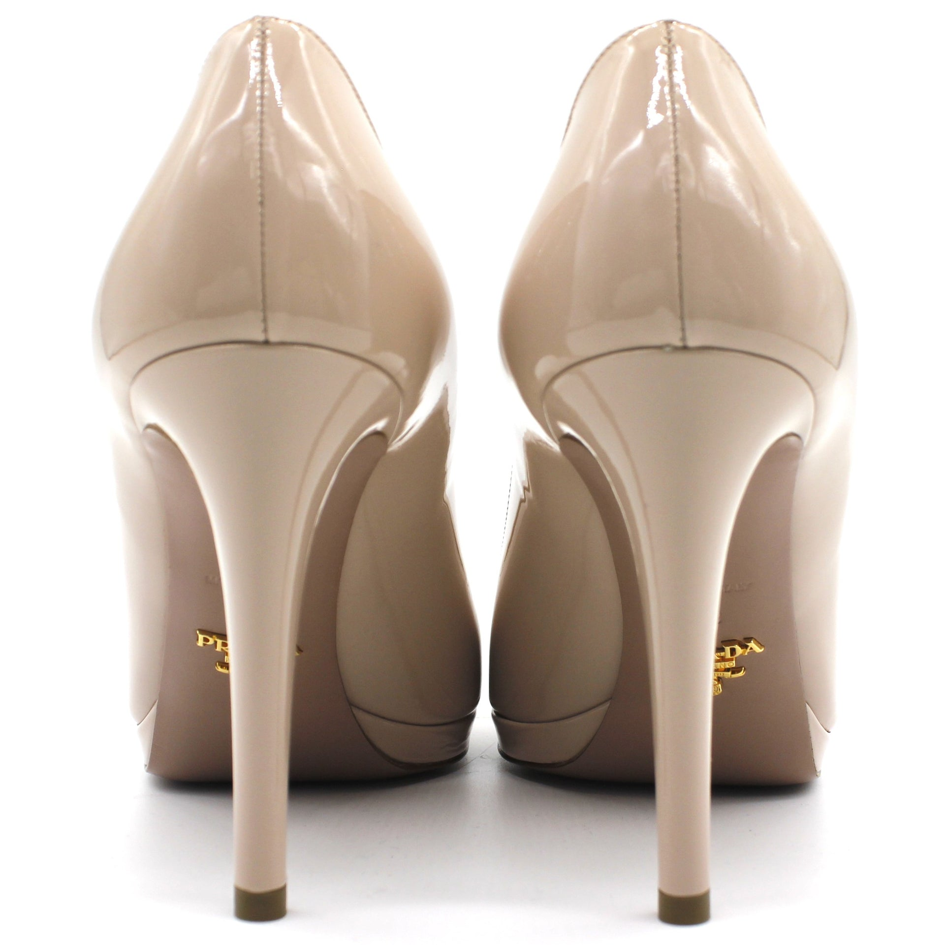 Patent Leather Beige White Pumps