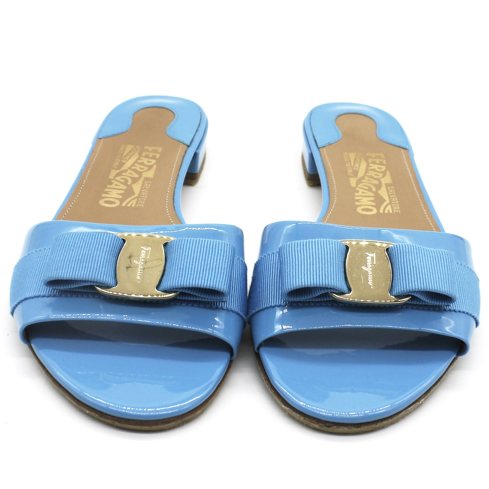 Vara Bow Sandal in Turquoise Patent
