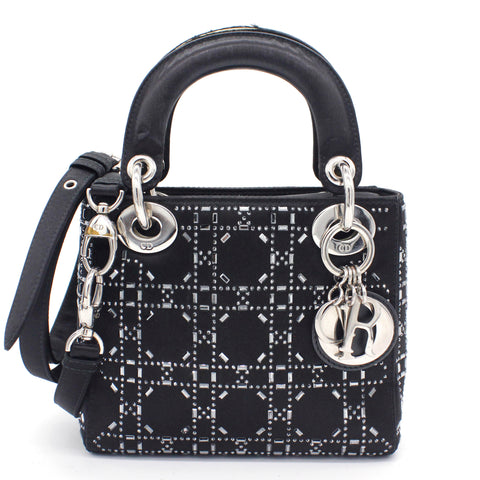 Satin Crystal Cannage Mini Lady Dior Black