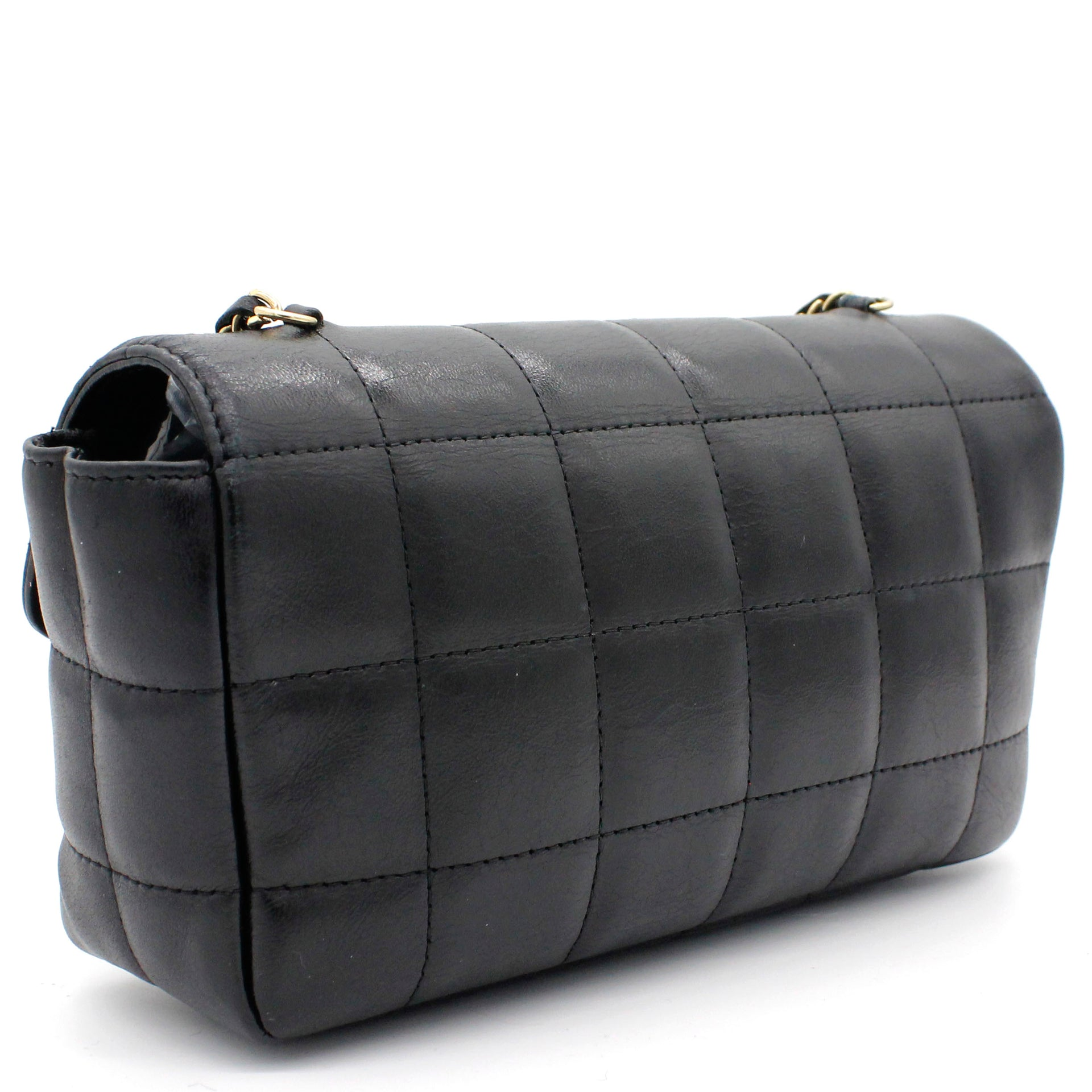 Square Quilted Chocolate Bar Mini Flap Black