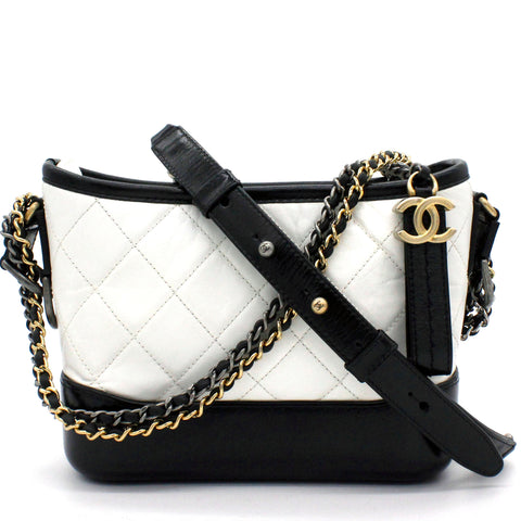 Calfskin Quilted Small Gabrielle Hobo Black White