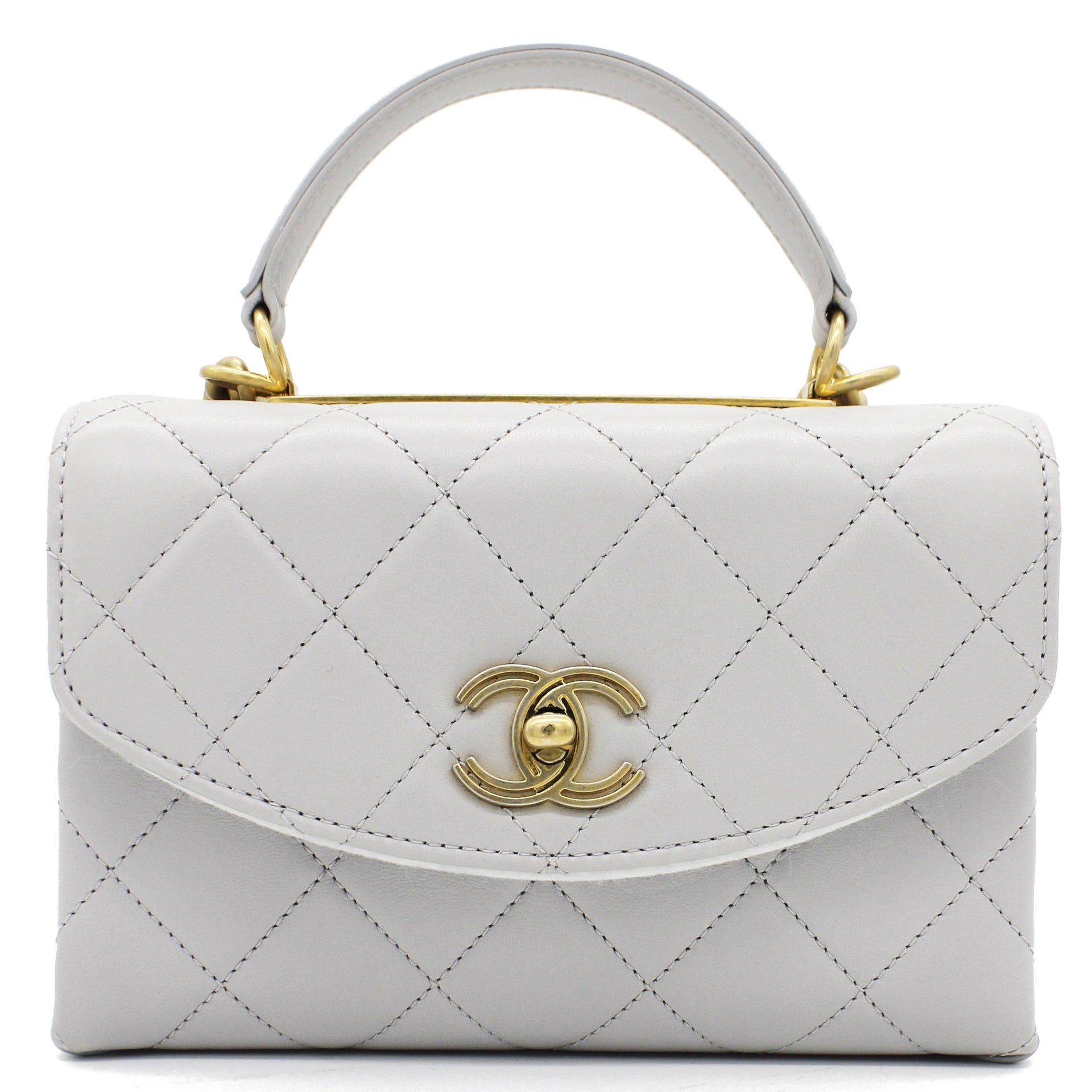 Quilted Lambskin Top Handle Flap Bag