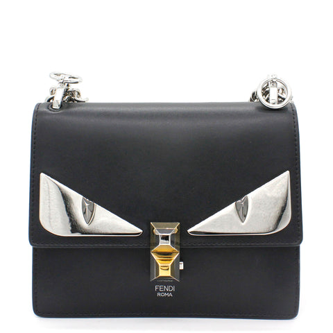 Smooth Calfskin Small Monster Kan I Shoulder Bag Black