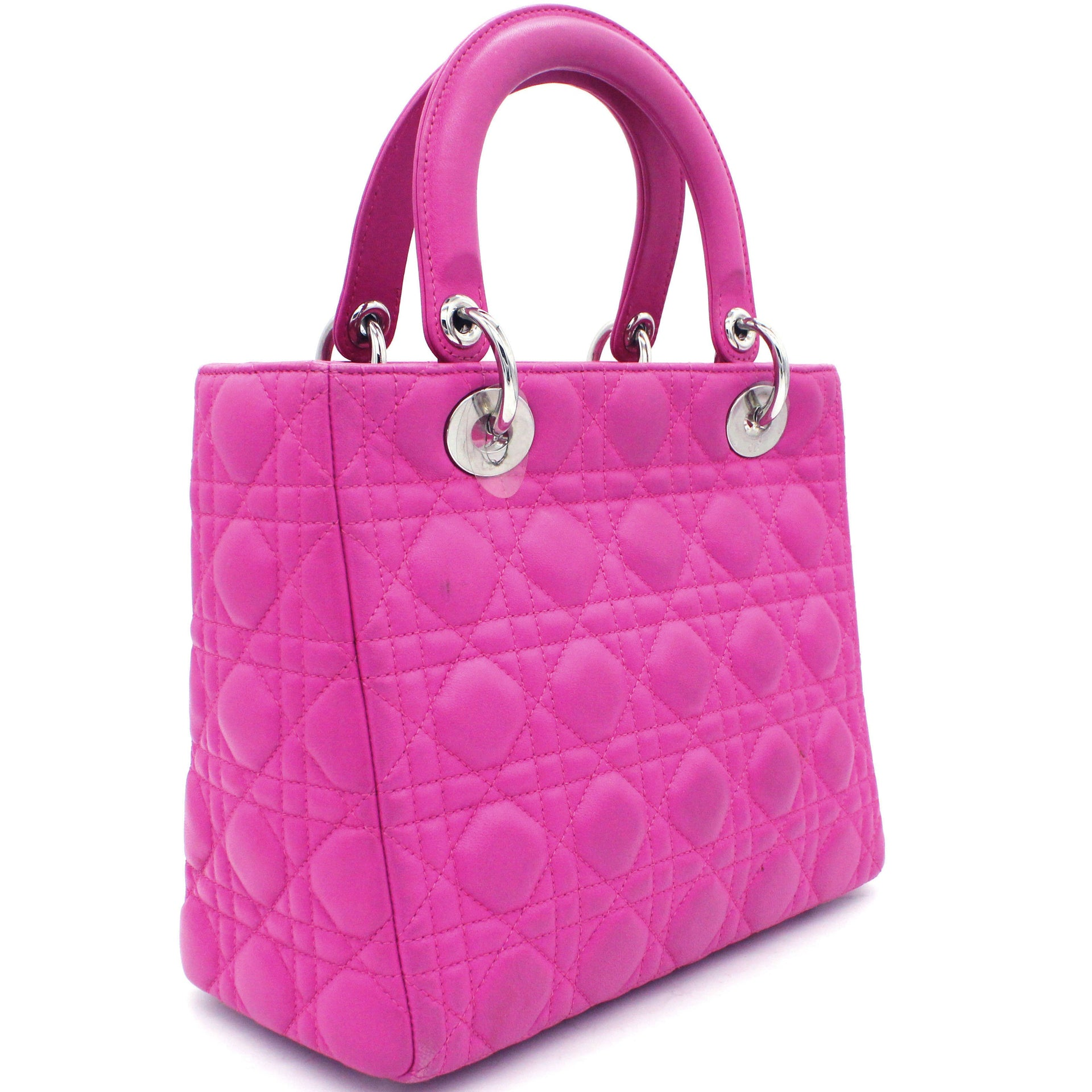 Medium Lady Dior in Fushia Lambskin Leather