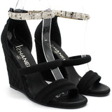 Black Canvas Wedge Open Toe Bangle Sandals