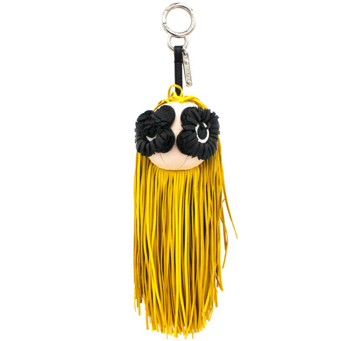 Fringed leather bag charm