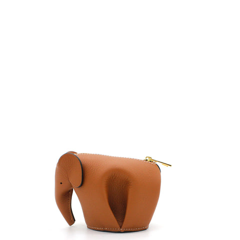Calfskin Elephant Coin Purse Carmel