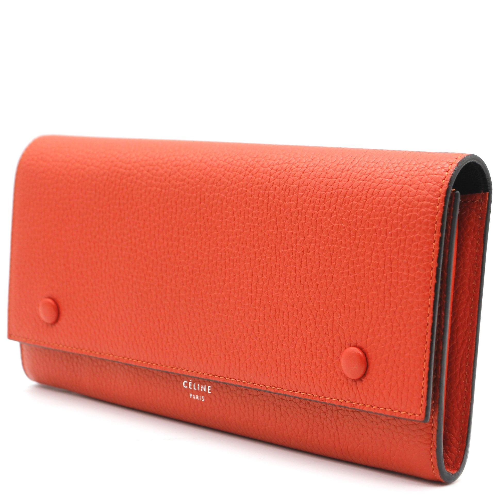 Calfskin Large Multifunction Flap Wallet Orange