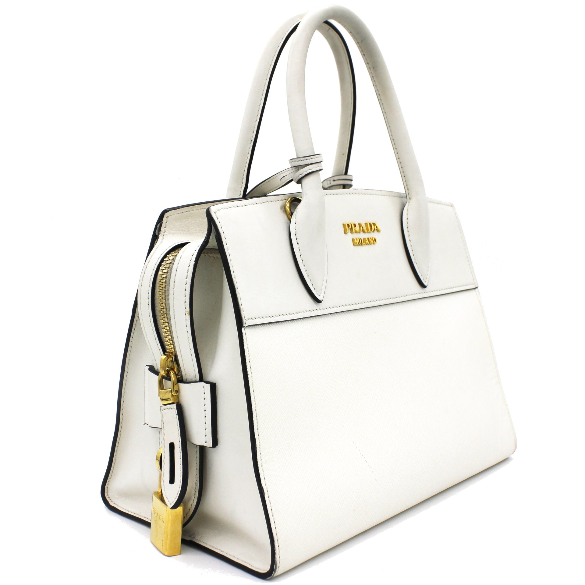 Saffiano City Calf Small Esplanade Tote White