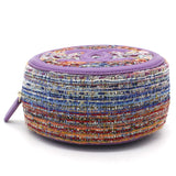 CC Tweed Fabric Round Clutch With Chain