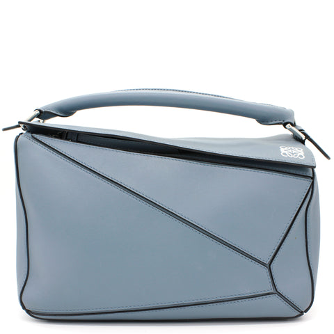 Calfskin Medium Puzzle Bag Light Blue