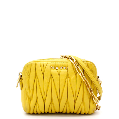 Nappa Matelasse Double Zip Chain Shoulder Bag