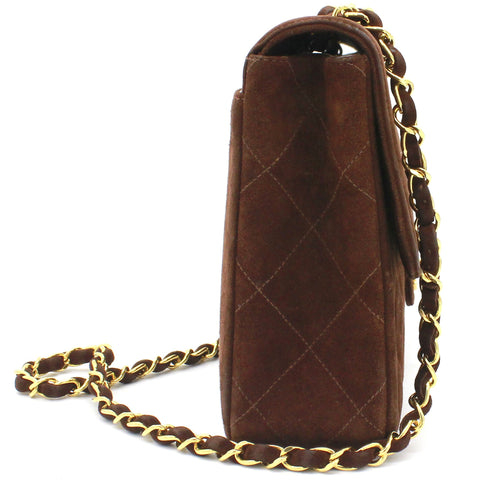 Quilted Chic Flap Bag Brown Vintage