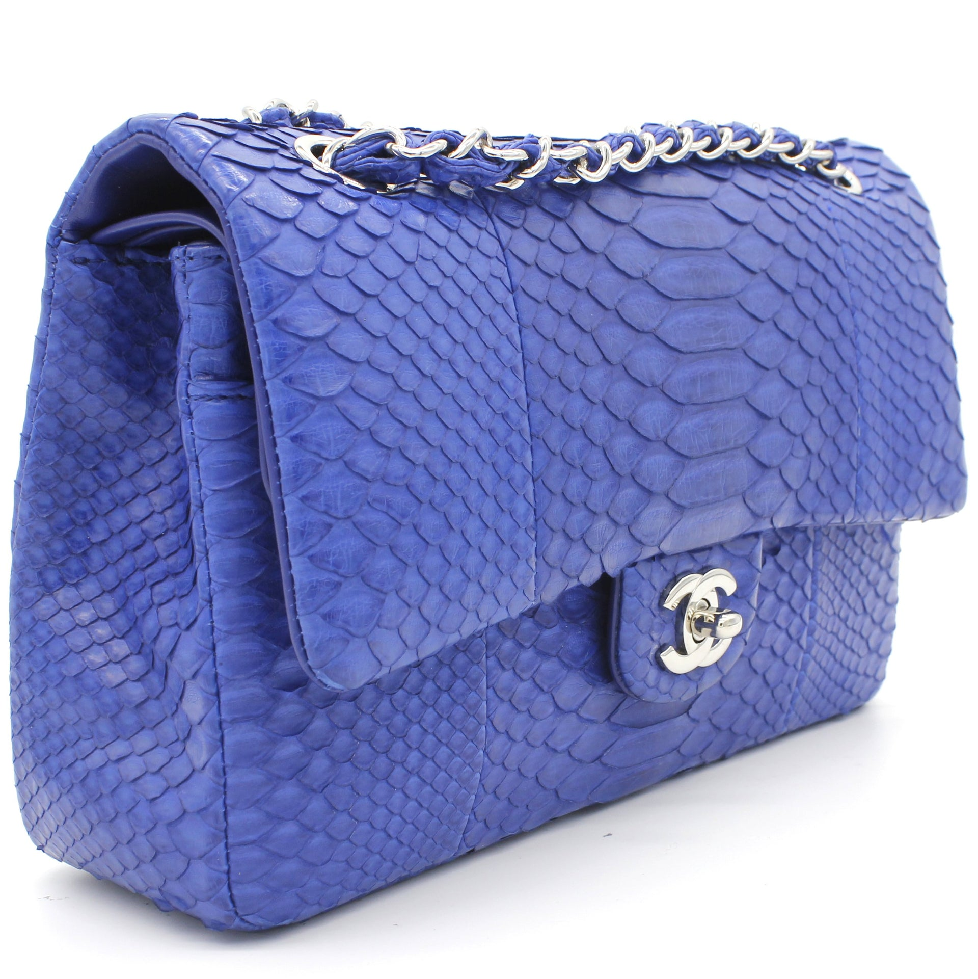 Blue Snack Leather Classic Double Flap Bag