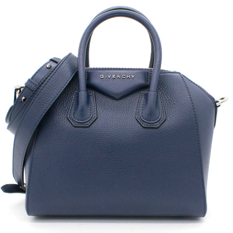 Navy Leather Mini Antigona Satchel