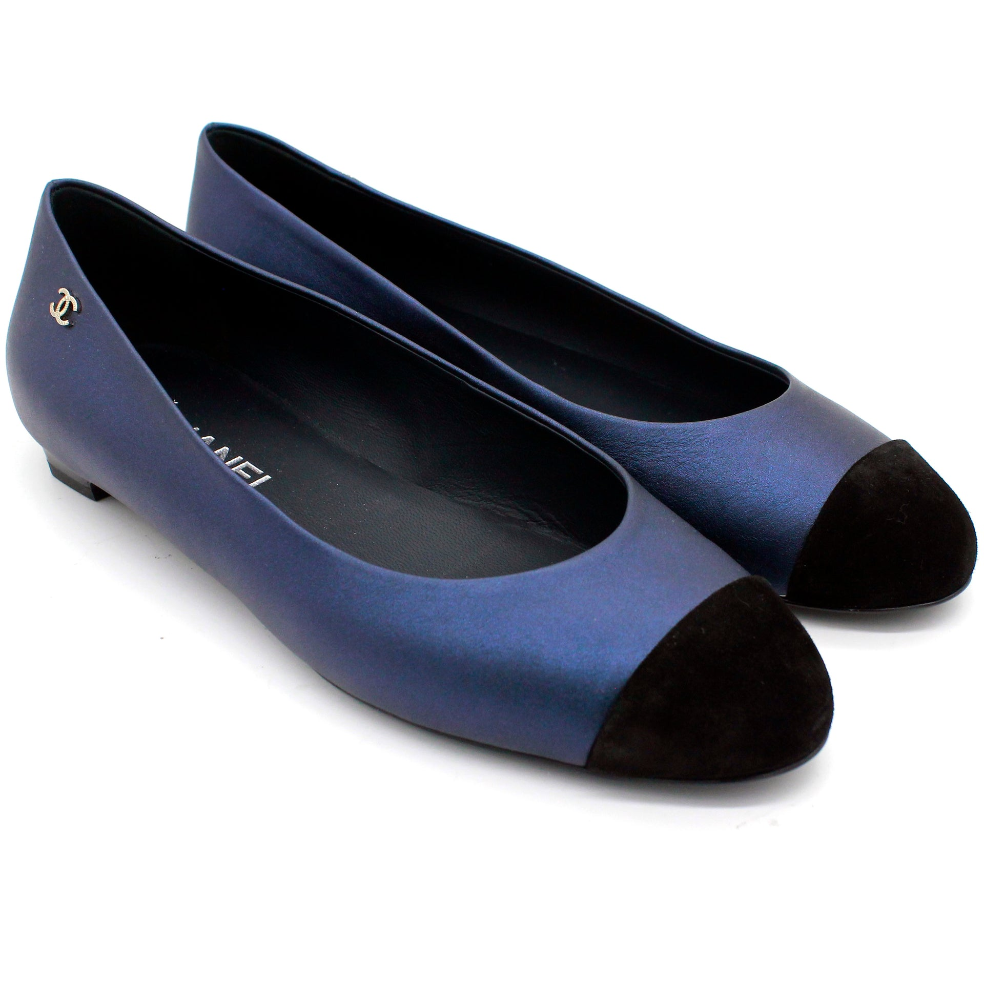 Leather and Velvet Bow CC Cap Toe Ballet Flats
