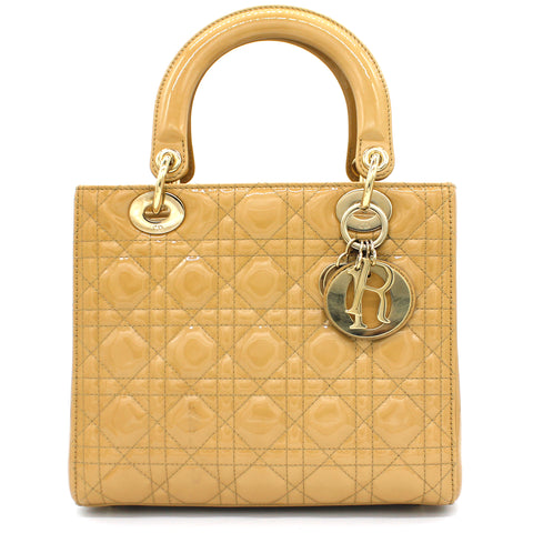Medium Lady Dior in Beige Patent Leather