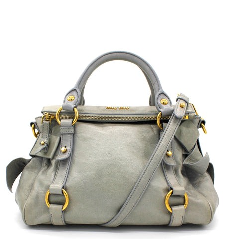 Grey Vitello Lux Leather Bow Bauletto Aperto