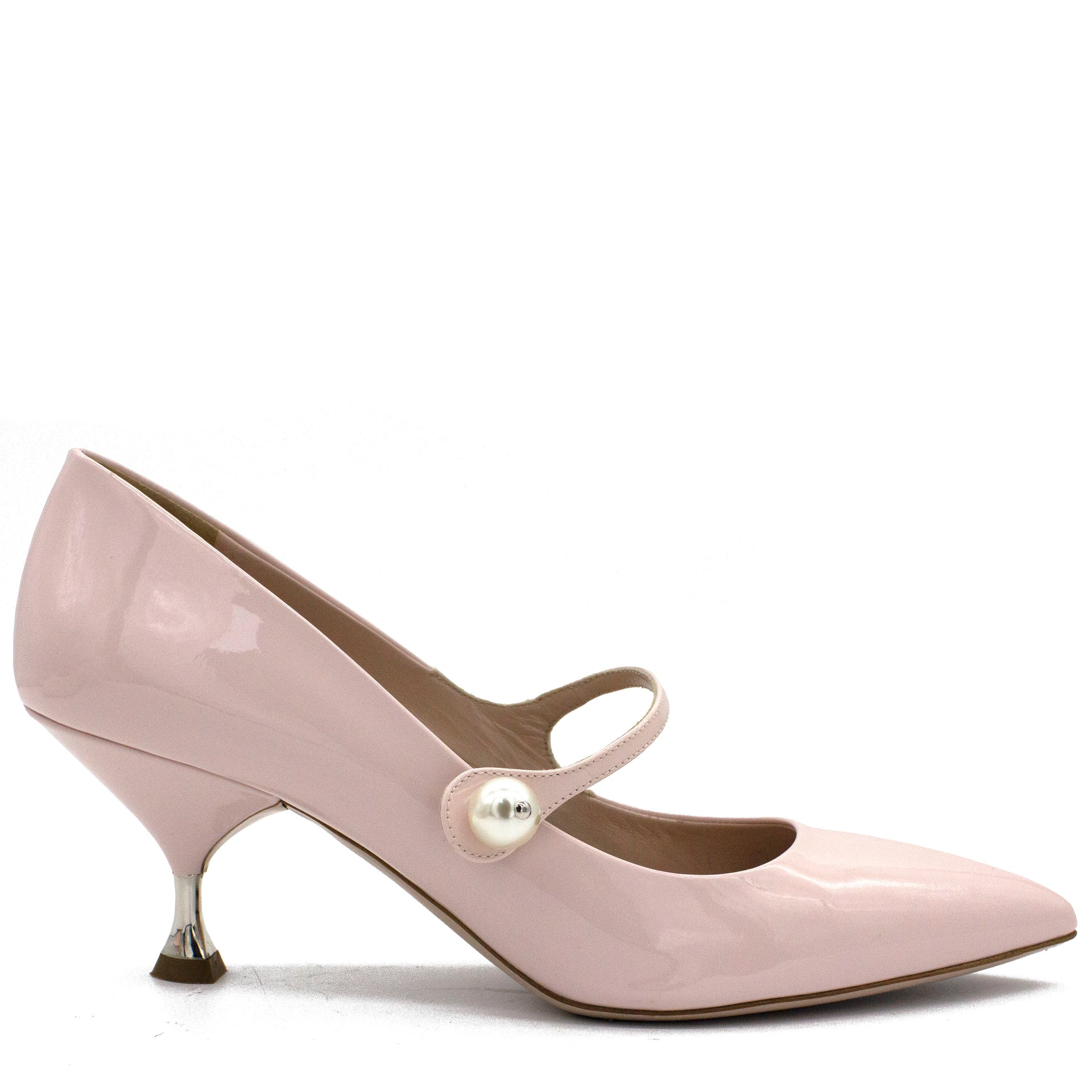Faux Pearl-embellished Patent-leather Mary Jane Pumps