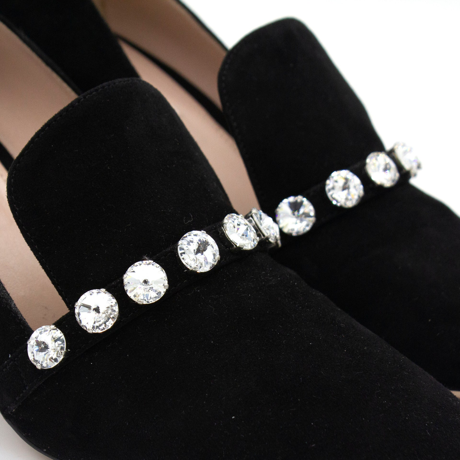 crystal embellished pumps