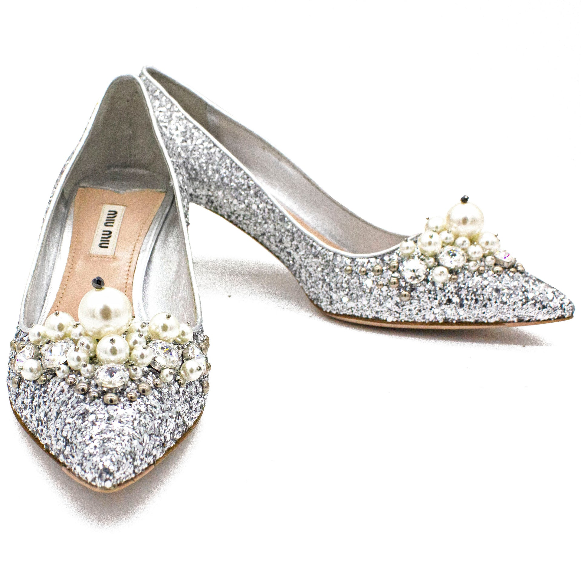 Pearl Embellished Pointed Toe Pumps