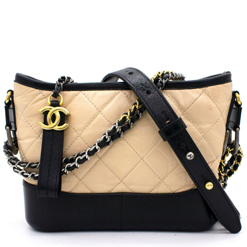 Calfskin Quilted Small Gabrielle Hobo Black Beige