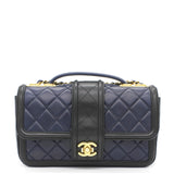 Lambskin Quilted Medium Elegant CC Flap Navy Black