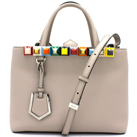Calfskin Studded Petite 2Jours Tote Grey