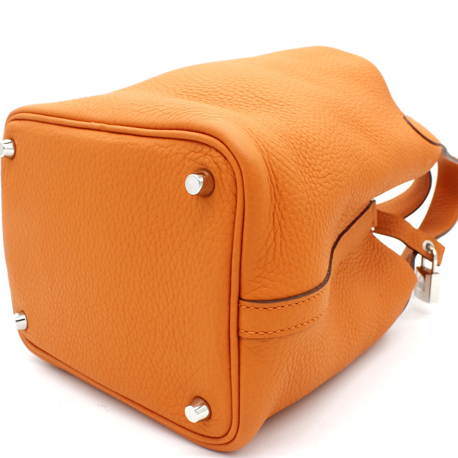 """Picotin Lock"" Bag in Orange Clemence Leather"