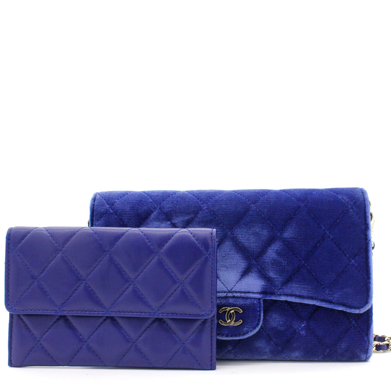 Velvet Quilted Wallet on Removable Chain Navy