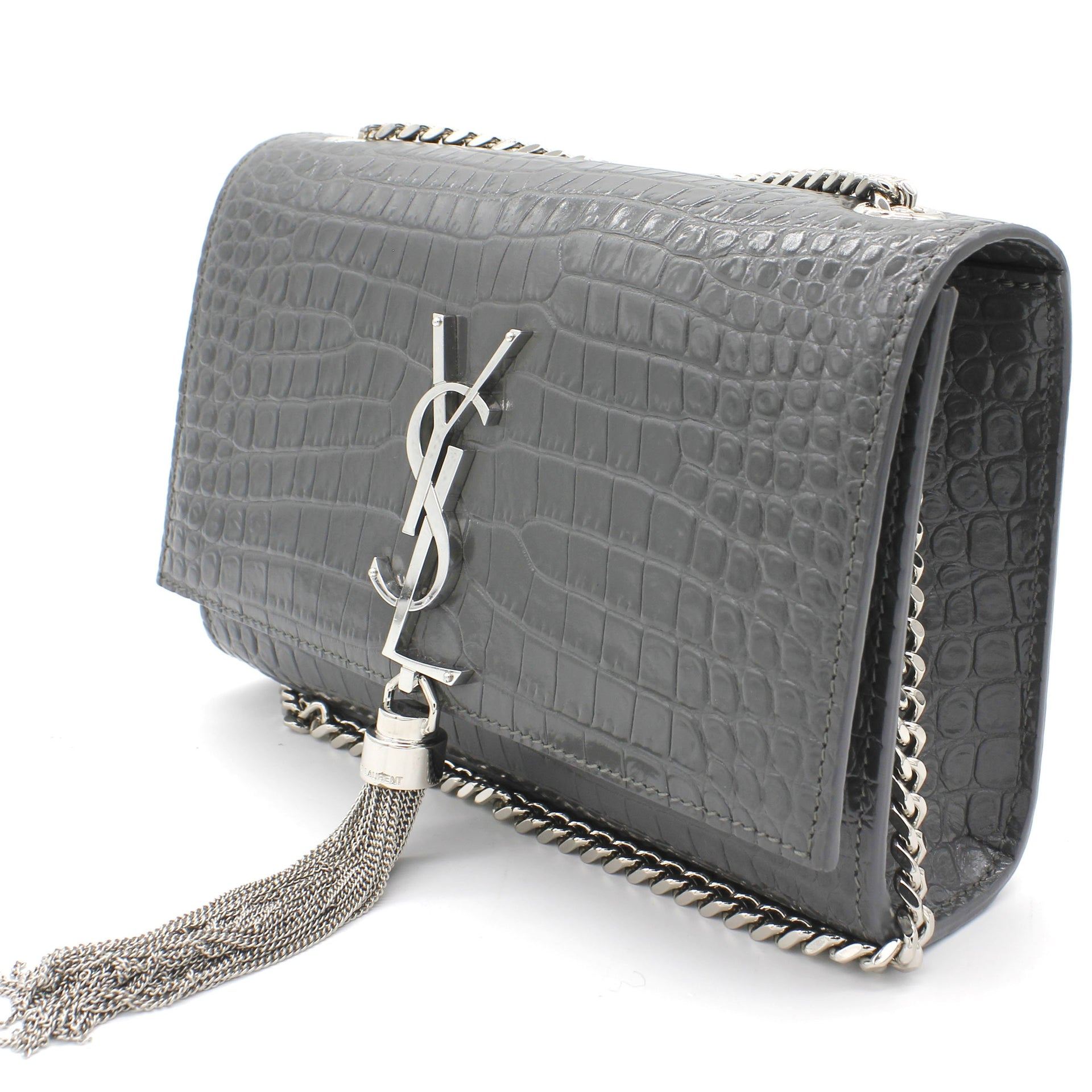 Crocodile Embossed Calfskin Small Kate Tassel Satchel
