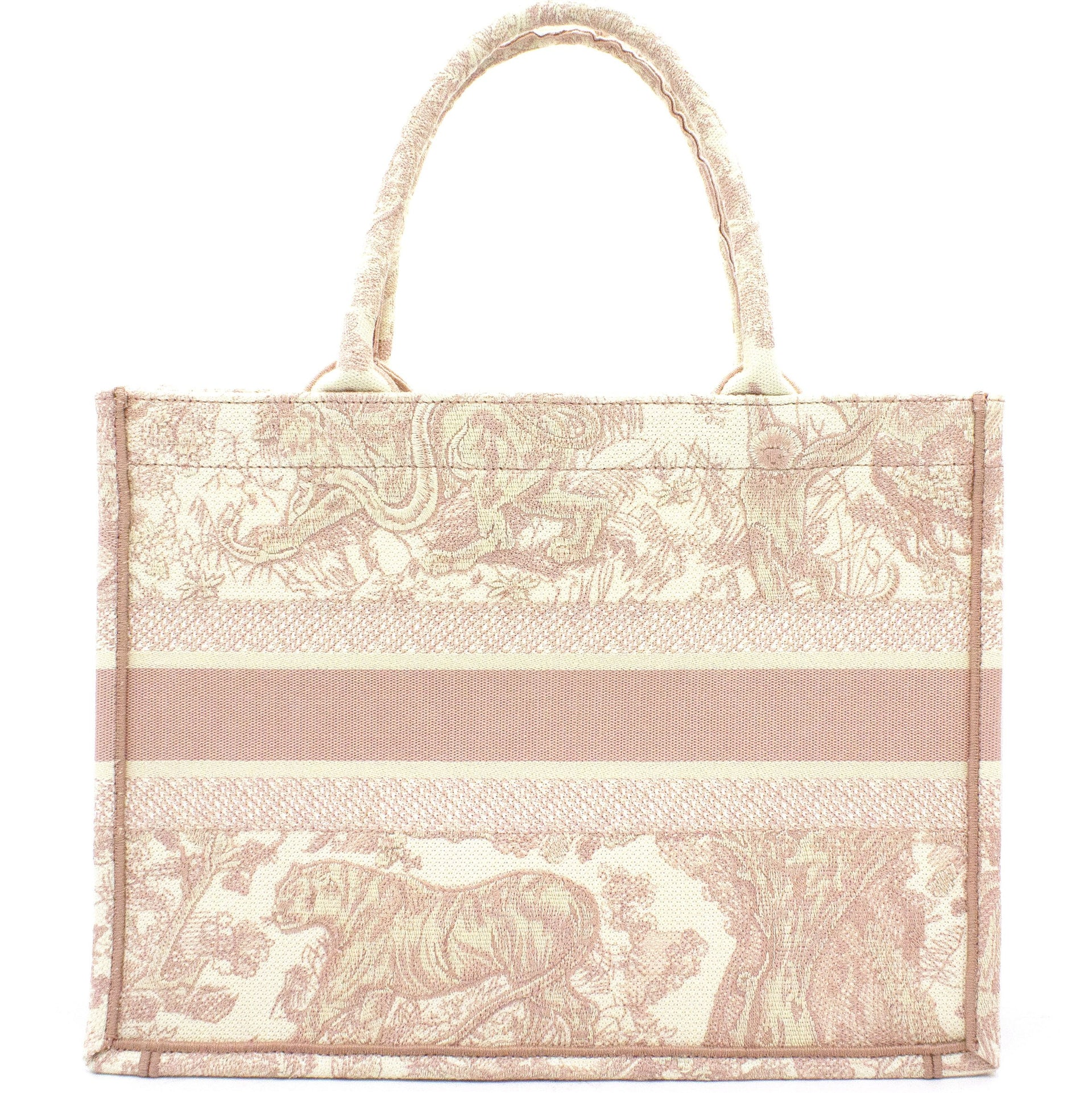 Pink Toile de Jouy Embroidery Booktote Small
