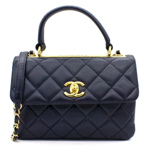 Navy Blue Quilted Leather Small Trendy CC Flap Shoulder Bag