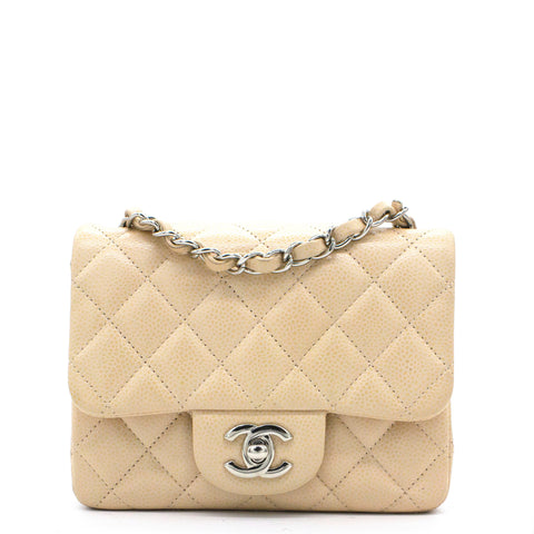 Beige Caviar Quilted Mini Square Flap Bag