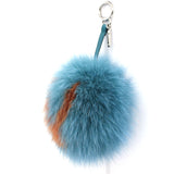 A-letter pompom fox-fur bag charm