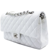 White Quilted Caviar Leather Classic Double Flap Bag
