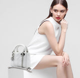 Christian Dior Mini Lady Dior with Chain in White Lambskin Leather