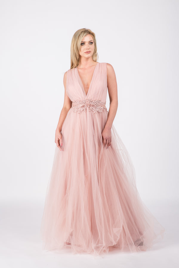 Rochie lunga din tulle MM Pink