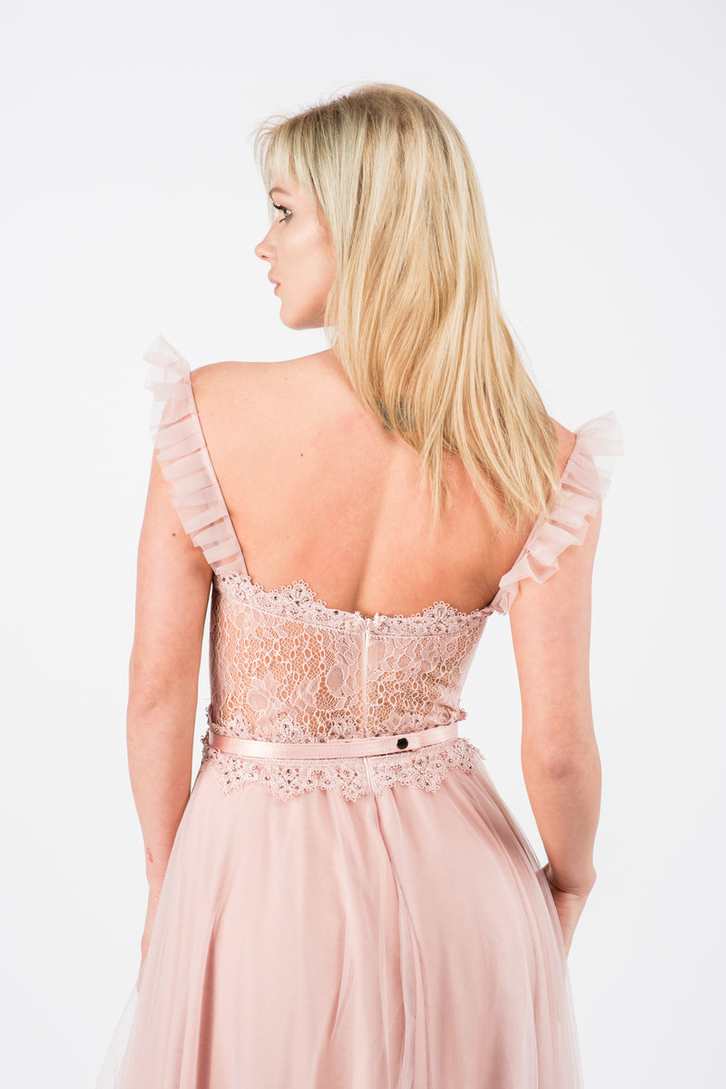 Rochie lunga din tulle Romantic pink