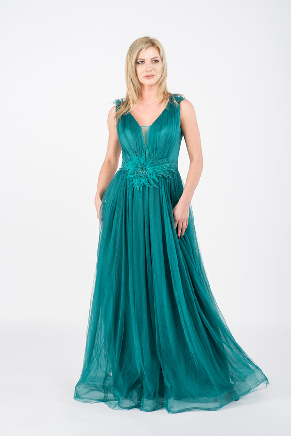 Rochie lunga din tulle Ingrid green