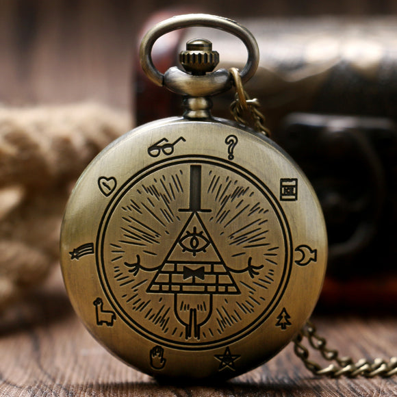 Retro Bronze Free and Accepted Masons All-seeing Eye Pattern Women Quartz Pocket Watch With Necklace Chain Gift