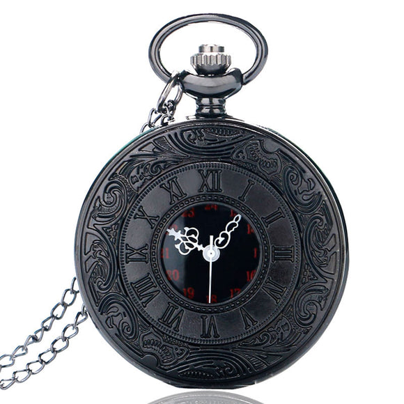 Vintage Charm Black Unisex Fashion Roman Number Quartz Steampunk Pocket Watch Women Man Necklace Pendant with Chain
