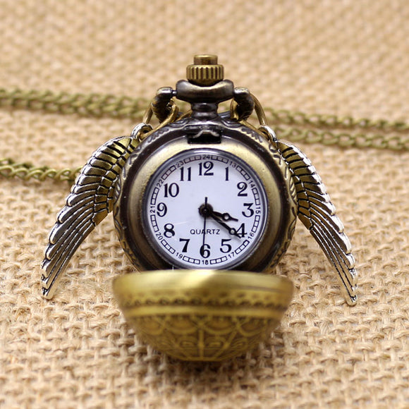 Elegant Golden Snitch Quartz Fob Pocket Watch With Sweater Necklace Chain