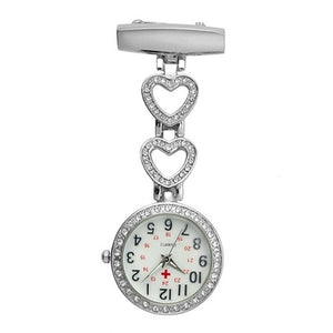 Fashion Women Pocket Watch Clip-on Heart/Five-pointed Star Pendant Hang Quartz Clock