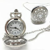 New Women Pocket Watch Retro Bronze Tone Round Shape Spider Web Pattern Watches With Chain Necklace Clock