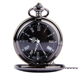 Fob Pocket Watch Vintage Roman Numerals Quartz Watch Clock With Chain Antique Jewelry Pendant Necklace